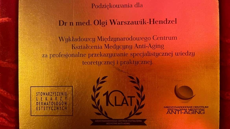 dr n. med. Olga Warszawik – Hendzel otrzymała podziękowania od Międzynarodowego Centrum Kształcenia Medycyny Anti-Aging